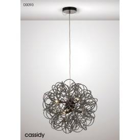 Cassidy 6 Light Aluminium Ceiling Pendant in Black Chrome Finish