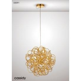 Cassidy 6 Light Aluminium Ceiling Pendant in Gold Finish