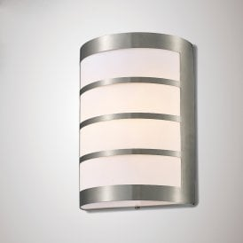 Clayton Single Light Outdoor Wall Fitting in Stainless Steel Finish with Louvre Detail