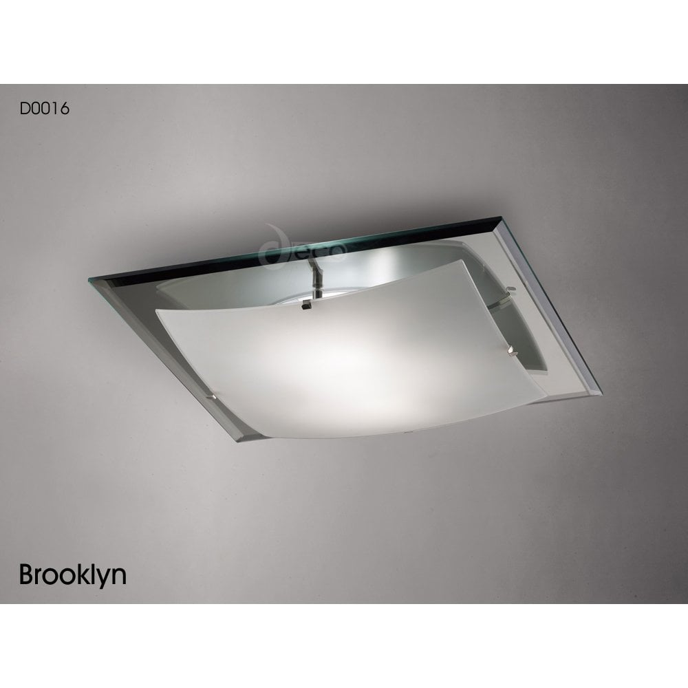 Deco D0016 Brooklyn 3 Light Flush Square Ceiling Fitting In Polished Chrome Finish With Frosted Glass Castlegate Lights