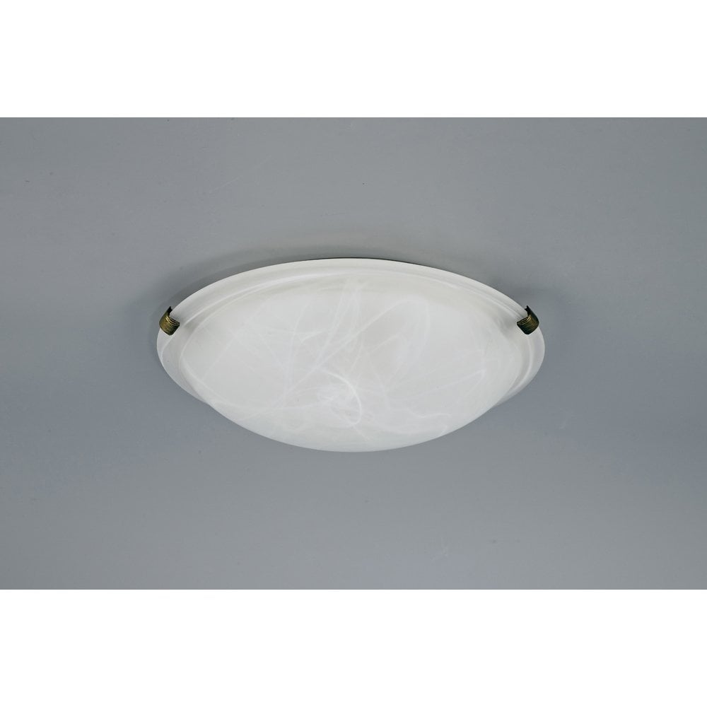 Deco D0392 Chester 2 Light Flush Ceiling Fitting In Polished Brass Finish With Alabaster Shade Castlegate Lights