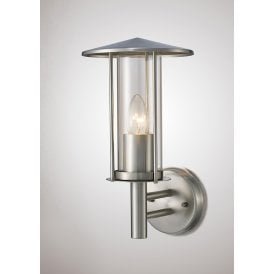Dalton Single Light Outdoor Wall Fitting in Stainless Steel Finish with Clear Glass