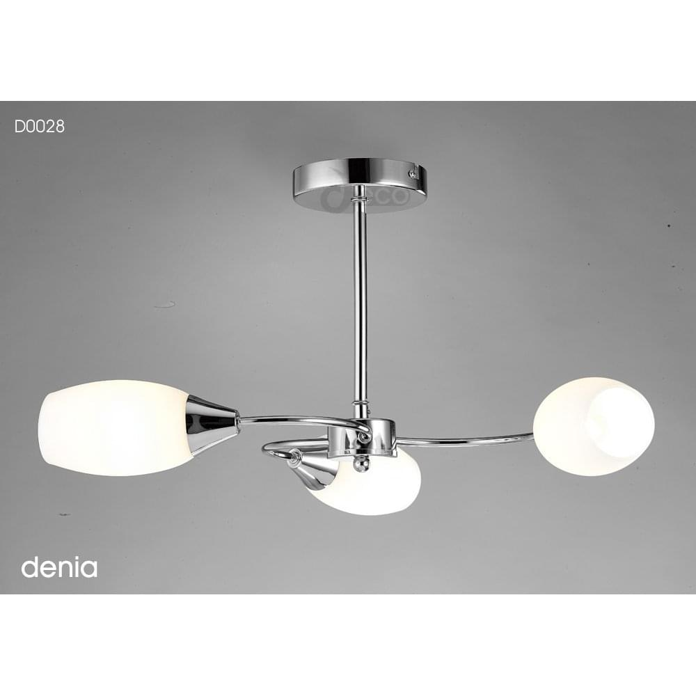 c8c0d764b71a Deco Denia 3 Light Contemporary Semi Flush Ceiling Fitting in Polished  Chrome Finish Complete with Opal Glass Shades Product Code: D0028