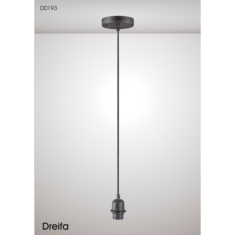 Deco Dreifa Single Light Ceiling Suspension Kit in Black Finish