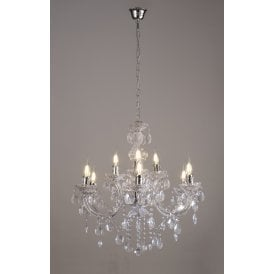 Floria 9 Light Multi Arm Ceiling Chandelier in Polished Chrome Finish with Acrylic