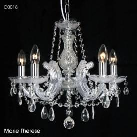 Gabrielle 5 Light Multi Arm Ceiling Chandelier in Polished Chrome Finish with Acrylic