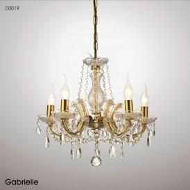 Gabrielle 5 Light Multi Arm Chandelier in Polished Brass Finish with Acrylic