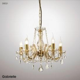 Gabrielle 5 Light Multi Arm Chandelier in Polished Brass Finish with Glass