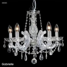 Gabrielle 5 Light Multi Arm Chandelier in Polished Chrome Finish with Glass