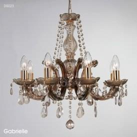 Gabrielle 8 Light Multi Arm Ceiling Chandelier in Mink Finish with Acrylic