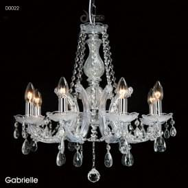 Gabrielle 8 Light Multi Arm Ceiling Chandelier in Polished Chrome Finish with Acrylic
