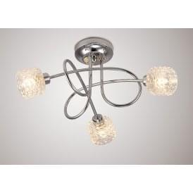 Jada 3 Light Semi Flush Ceiling Fitting in Polished Chrome Finish Complete with Textured Glass Shades