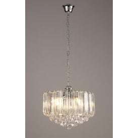 Lana 3 Light Ceiling Pendant In Polished Chrome finish With Acrylic Drops And Spheres