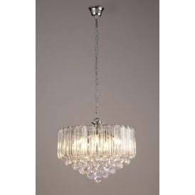 Lana 5 Light Ceiling Pendant In Polished Chrome finish With Acrylic Drops And Spheres