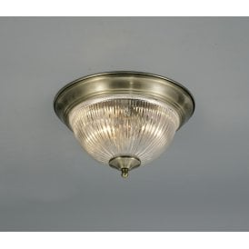 Macy 2 Light Flush Ceiling Fitting In Antique Brass Finish With Clear Glass Shade