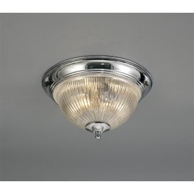 Macy 2 Light Flush Ceiling Fitting In Polished Chrome Finish With Clear Glass Shade