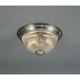Macy 2 Light Flush Ceiling Fitting In Satin Nickel Finish With Clear Glass Shade