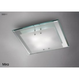 Mira 3 Light Medium Square Flush Ceiling Fitting in Polished Chrome Finish with Frosted Glass