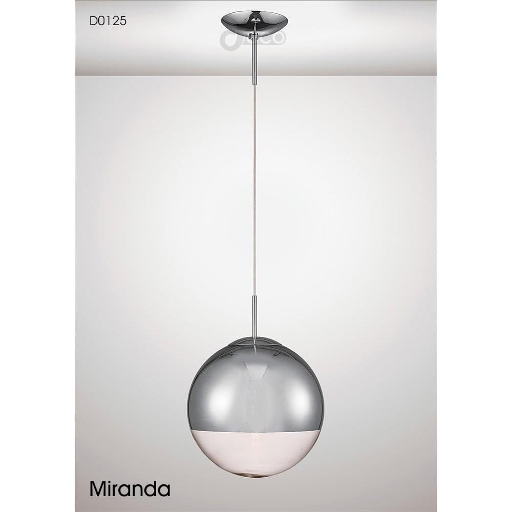 Deco miranda single light medium ball pendant in polished chrome and mirrored glass finish