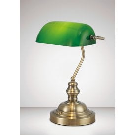 Morgan Single Light Bankers Lamp in Antique Brass Finish with Green Glass and Toggle Switch