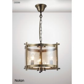 Nolan Lantern 3 Light Small Ceiling Pendant in Antique Brass Finish with Clear Glass