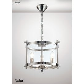 Nolan Lantern 3 Light Small Ceiling Pendant in Polished Chrome Finish with Clear Glass