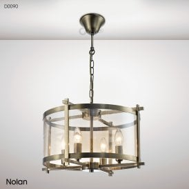 Nolan Lantern 4 Light Medium Ceiling Pendant in Antique Brass Finish with Amber Glass