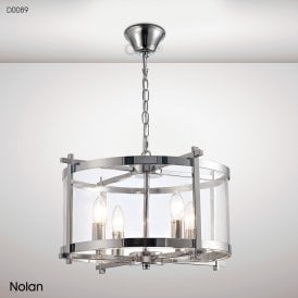 Nolan Lantern 4 Light Medium Ceiling Pendant in Polished Chrome Finish with Clear Glass