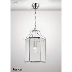 Payton Single Light Ceiling Pendant in Polished Chrome Finish with Clear Glass