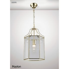Payton Single Light Ceiling Pendant Lantern in French Gold Finish with Clear Glass