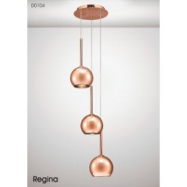 Regina 3 Light Ceiling Pendant in Copper Finish with Glass Shades