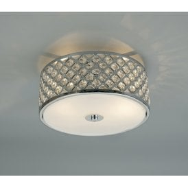 Sasha 2 Light Flush Ceiling Fitting In Polished Chrome Finish With Crystal Glass Decoration And Opal Glass Diffuser