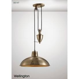Wellington Single Light Rise and Fall Fitting in Antique Brass Finish