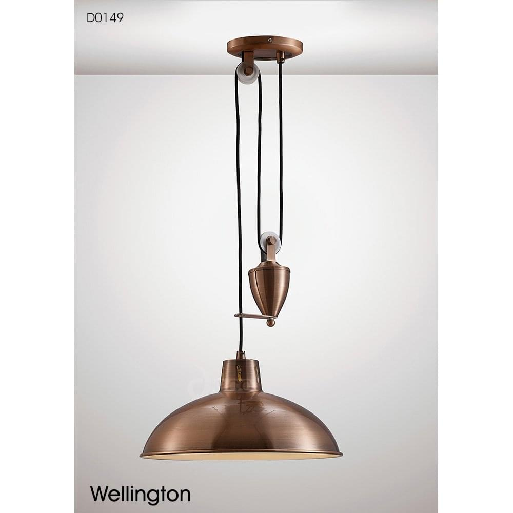 6e22708303df Deco Wellington Single Light Rise and Fall Fitting in Antique Copper Finish  Product Code: D0149