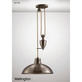 Wellington Single Light Rise and Fall Fitting in Satin Nickel Finish
