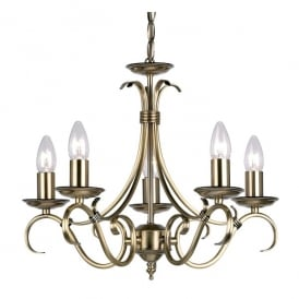 Decorative Candelabra Style 5 Light Ceiling Fitting In Antique Brass Finish