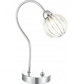 Degray Single Light Polished Chrome Table Lamp with Clear Bead Decorations