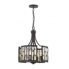 Deja 4 Light Ceiling Pendant In Bronze Finish With Crystal Coffin Drops