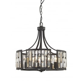 Deja 5 Light Ceiling Pendant In Bronze Finish With Crystal Coffin Drops