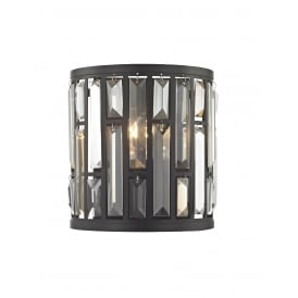 Deja Single Light Wall Fitting In Bronze Finish With Crystal Coffin Drops