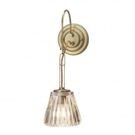 Demelza Single LED Bathroom Wall Fitting in Brushed Brass Finish with Glass Shade