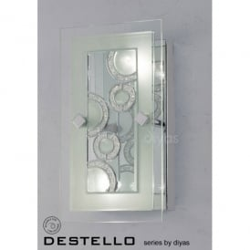 Destello 2 Light Wall or Ceiling Fitting in Polished Chrome with Circle Pattern