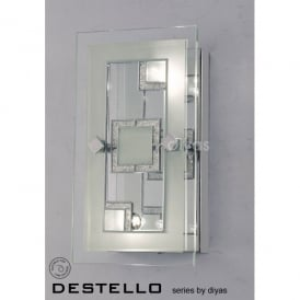 Destello 2 Light Wall or Ceiling Fitting in Polished Chrome with Square Pattern