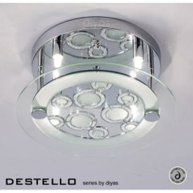 Destello 4 Light Ceiling Fitting in Polished Chrome with Circle Pattern