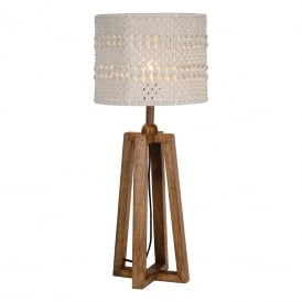 Devyn Single Light Table Lamp Base Only in Washed Dark Wooden Finish