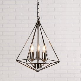 Diamond 3 Light Ceiling Pendant In Antique Silver Finish