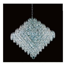 Diamond Lead Crystal And Chrome Pendant In 3 Sizes