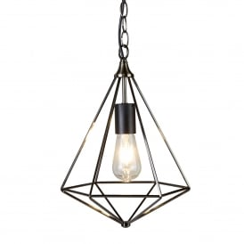 Diamond Single Light Ceiling Pendant In Antique Silver Finish