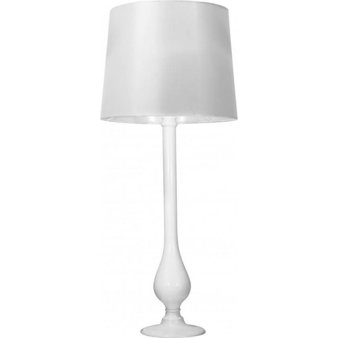 Dar Lighting Dillon White Glass Table Lamp With White Satin Shade