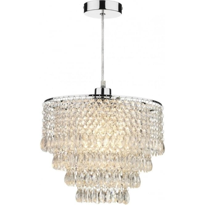 Dar Lighting Dionne Ceiling Light Pendant Shade In Polished Chrome Finish With Clear Glass Droplets